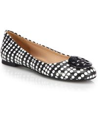 Tory Burch Reva Leather Polka Dot Ballet Flats - Lyst