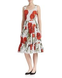 Dolce & Gabbana Carnation And Polka-Dot Print Dress multicolor - Lyst