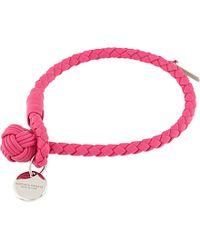 Bottega Veneta Woven Leather Bracelet - For Women pink - Lyst