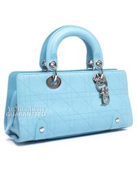 Dior Pre-Owned Blue Leather Cannage Bag - Lyst