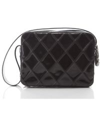 Chanel Preowned Black Patent Diamond Quilted Bag - Lyst