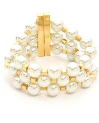 Tory Burch Tilde Multi Strand Bracelet Ivory Pearlshiny Brass - Lyst