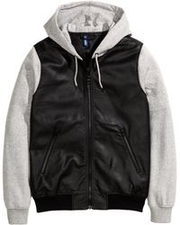 H&M Hooded Bomber Jacket black - Lyst