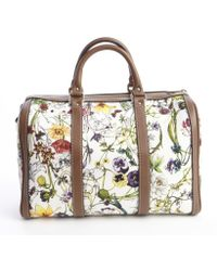Gucci White Floral Canvas Boston Convertible Bag - Lyst