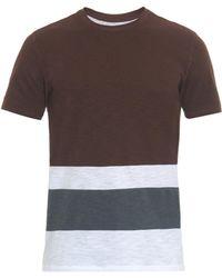 Vince Striped Cotton-Jersey T-Shirt - Lyst