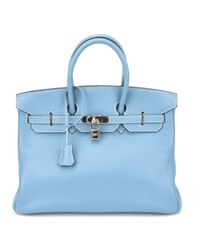 Hermes Authentic Pre-owned Taurillon Blue Jean Clemence Leather Birkin - Lyst
