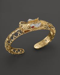 John Hardy Batu Naga 18k Yellow Gold Diamond Pave Dragon Kick Cuff with African Ruby Eyes - Lyst