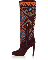 Brian Atwood - Vicky Suede And Velvet Knee Boots - Lyst