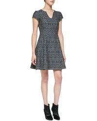 Nanette Lepore Breakthrough Splitneck Jacquard Dress - Lyst