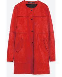 Zara | Red Suede Effect Coat | Lyst