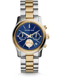 Michael Kors Runway Two-Tone Stainless Steel Chronograph Bracelet Watch - Lyst