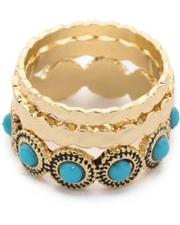 Sam Edelman - Stone Stack Ring Set - Turquoise/gold - Lyst