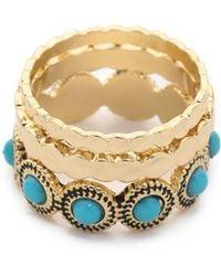 Sam Edelman - Stone Stack Ring Set - Turquoise/gold - Lyst