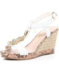 River Island White Embellished Espadrille Wedge Sandals - Lyst
