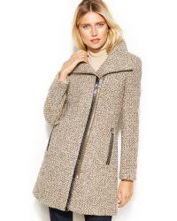 Calvin Klein Petite Asymmetrical Fauxleathertrim Woolblend Coat - Lyst