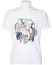 Kenzo White Cotton T-Shirt With Multiprint white - Lyst