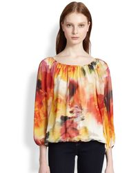 Alice + Olivia Alta Floral-Print Peasant Blouse - Lyst