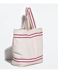 Zara Contrast Striped Shopper - Lyst