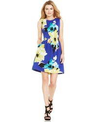 Vince Camuto Floral-Print Pleated Scuba Dress - Lyst