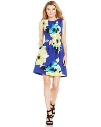 Vince Camuto Floral-Print Pleated Scuba Dress - Lyst