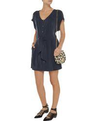 Balmain Pleated Washed-twill Mini Dress - Lyst
