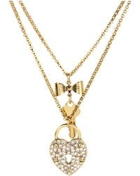 Betsey Johnson Iconic Heart/Key 2 Row Necklace gold - Lyst