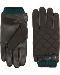 Ted Baker | Quilted Nylon And Leather Gloves | Lyst