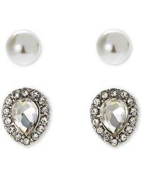 Ak Anne Klein - Faux Pearl & Teardrop Stud Earrings - Lyst