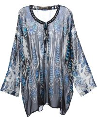Roberto Cavalli Embellished Collar Printed Top - Lyst