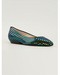 Pollini Studded Pointed Toe Ballerinas - Lyst