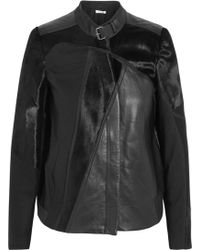 Helmut Lang Paneled Leather and Calf Hair Biker Jacket - Lyst