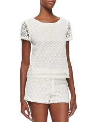 Joie Alsace Short-Sleeve Lace Top - Lyst