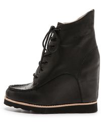 Matiko - Cooper Lace Up Wedge Boots - Taupe - Lyst
