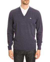 Lacoste Navy Blue Cashmere Marabout Sweater - Lyst