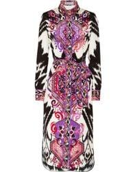 Emilio Pucci Printed Silkcrepe Midi Dress - Lyst