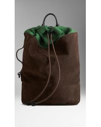 Burberry Suede and Wool Drawcord Backpack - Lyst