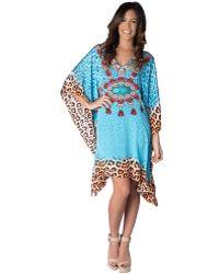 Yuka Beach - Turquoise Cheetah Print Cover Up - Lyst