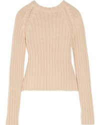 Jill Stuart Tasia Cropped Ribbed Cotton-blend Sweater - Lyst