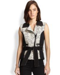 Sachin & Babi Architect Faux Leather-Trimmed Tweed-Paneled Vest - Lyst