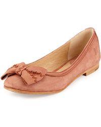 Frye Esther Bow Nubuck Leather Ballet Flat - Lyst