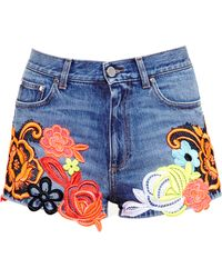Christopher Kane - Lace Embroidered Denim Shorts - Lyst