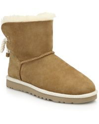Ugg Selene Short Shearling-Lined Suede Boots brown - Lyst