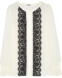 Alice By Temperley Hemingway Lacepaneled Crepe Blouse - Lyst