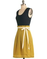 Pink Martini Scenic Road Trip Dress In Navy And Gold - Lyst