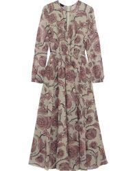 Burberry Prorsum Pleated Floralprint Silk Dress - Lyst