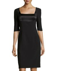 Philosophy di Alberta Ferretti Satin-Inset Square-Neck Dress black - Lyst