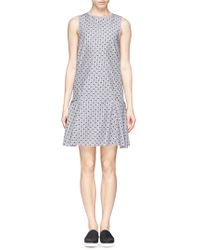 See By Chloé Fil Coupé Jacquard Cotton Poplin Dress gray - Lyst