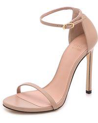 Stuart Weitzman Nudist 110Mm Leather Sandals - Adobe - Lyst