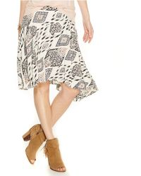 Vince Camuto Printed Asymmetrical Flounce Skirt white - Lyst