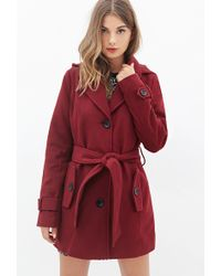 Forever 21 Hooded Pea Coat in Purple | Lyst